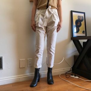 GAP High Waisted White Cargo Pants with Wrap